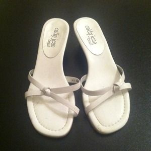 Cathy Jean Shoes - White Cathy Jean Sandal heels.