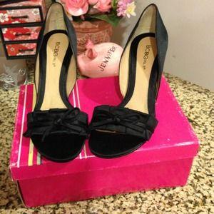  Bcbg black satin ribbon pumps 