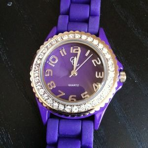 Charming Charlie Accessories - Purple Crystal-Embellished Watch w/Rubber Strap