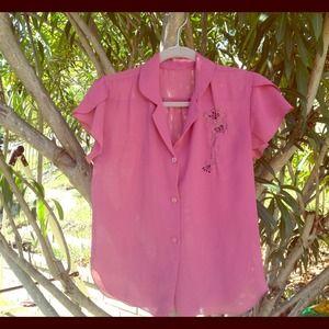 Tops - Vintage sheer blouse rose