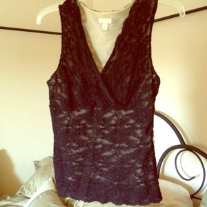 Black sheer/lace tank