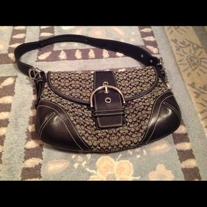 black and gray coach bag 7o03  Small black and gray coach purse