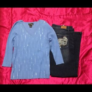 Style & Co Tops - Periwinkle silk sweater with tiny sequins.