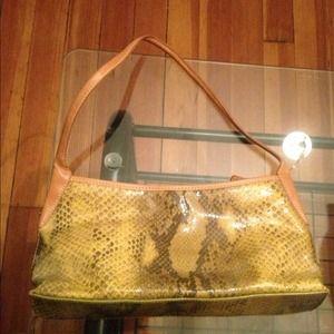 Maxx New York yellow/gold snakeskin handbag/purse