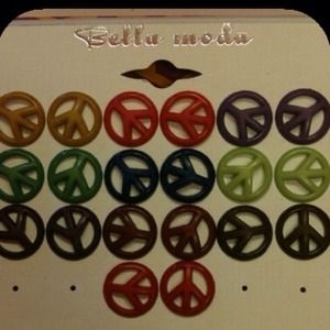 Jewelry - 10 pairs of peace sign earrings multiple colors