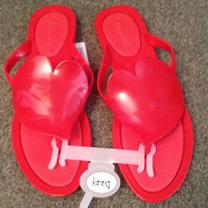 Red Jelly Heart Sandals size 6