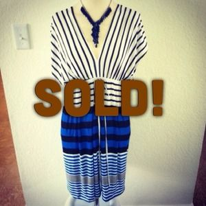 *NWT* Black & Blue Sz L striped dress