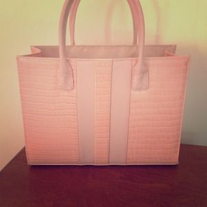 Faux pink croc skin footed tote