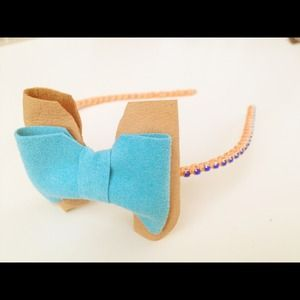Leather & Rhinestone Bow Headband