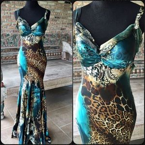 Mary L Couture Dresses & Skirts - Long Turquoise & Multi Leopard Print Silk Gown