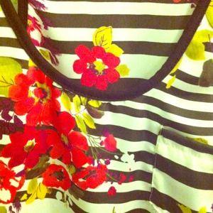 Floral stripes tank top