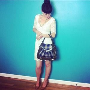 Preppy plaid & olive handbag