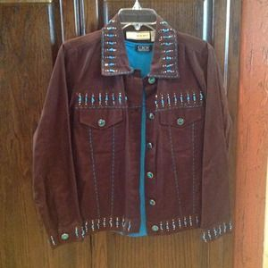 Tops - Brown jacket with turq shirt