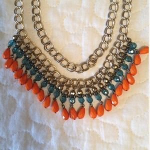 Turquoise, Gold, and Coral Necklace