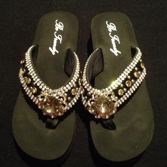 76a48fd40 Be Trendy Shoes - Cute Bling Sandals Flip Flops SZ 9