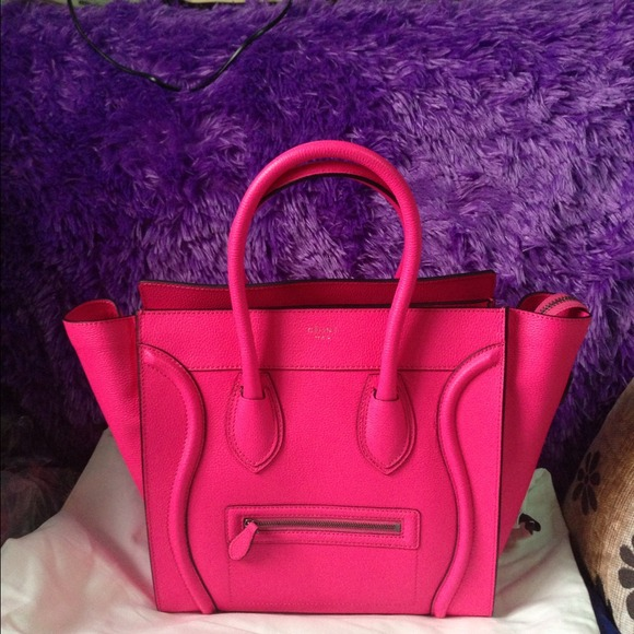 celine pink luggage tote - celine pink leather handbag luggage
