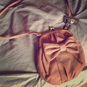 Faux leather cross body satchel