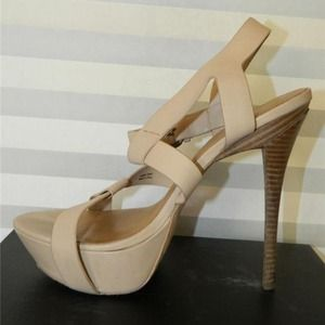 L.A.M.B. Evelyn Platform High Heels leather beige