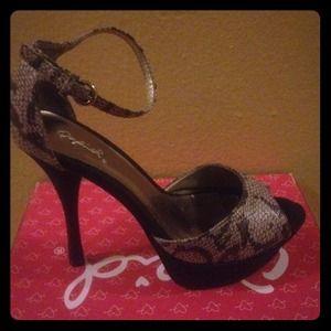 Qupid snake print heels