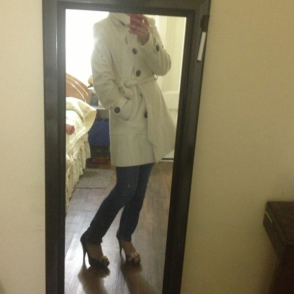 Express - REDUCED! Express white pea coat from Y's closet on Poshmark