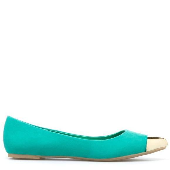 Shoedazzle Shoes - 🚫SOLD🚫Green Sophia Metal Cap Toe Flats