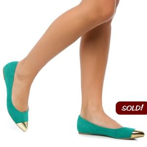 Shoedazzle Shoes - 🚫SOLD🚫Green Sophia Metal Cap Toe Flats