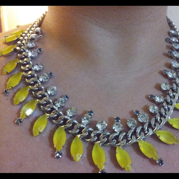 Lemon yellow rhinestone statement necklace