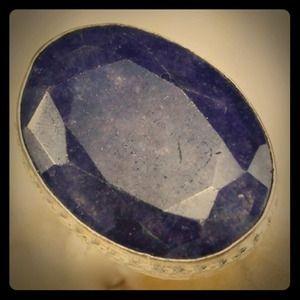 .925 Precious Gemstone Sapphire SS Ring