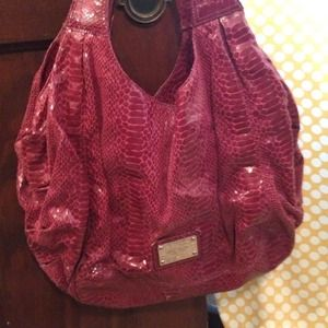 Nine West Hot Pink Snake Skin Handbag