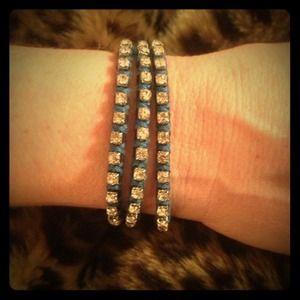 Blue Leather Rhinestoned Wrap Bracelet