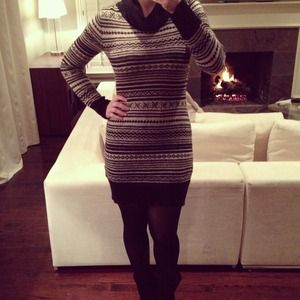 SOLD!! Zara Black and White Sweater Dress