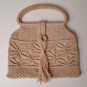 SALE Vintage Boho Crochet Macrame Satchel Handbag