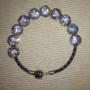Pandora Jewelry - Pandora leather bracelet with 10 pavé lights beads