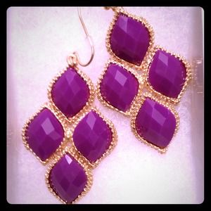 Purple and Gold Statement Earrings