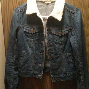 Faux shearling blue jean jacket