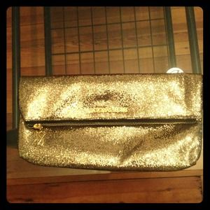 Victoria's Secret gold glitter/sparkle clutch