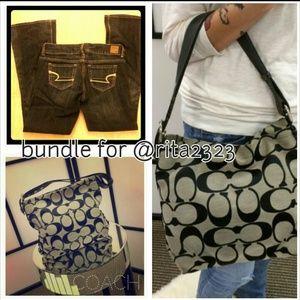 Bundle! AE Artist jeans 4s & Coach Bag