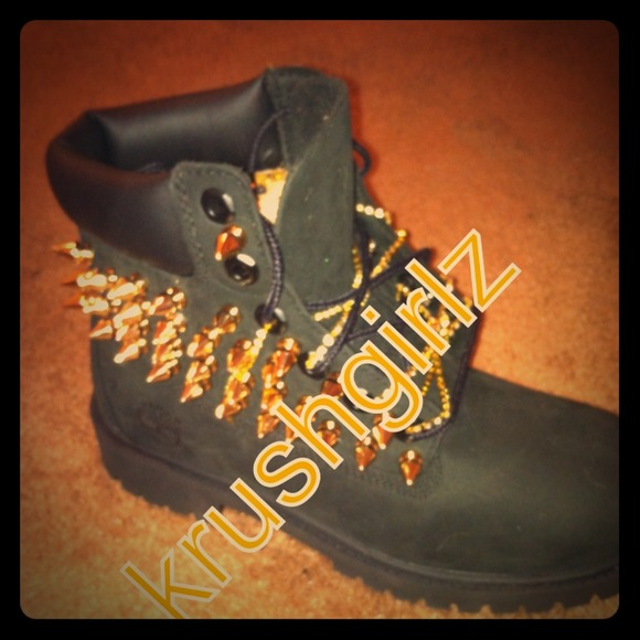 Customized Timberlands With Spikes Custom Timberlands