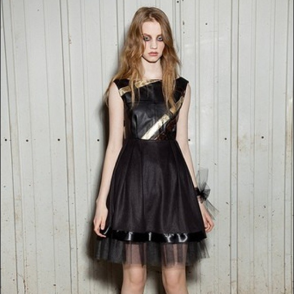 Kelly Lynne Dresses - Mixed leather baby doll dress