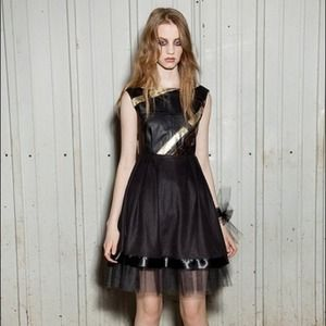 Mixed leather baby doll dress