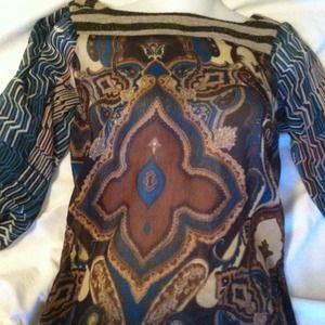 Sheer paisley sexy shirt. Medium