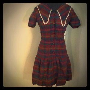 jewel tone plaid drop waist pilgrim collar dress