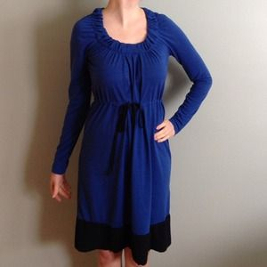 Blue and navy blue long sleeve color block dress