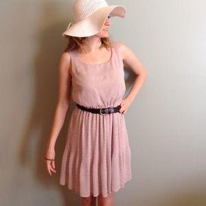Light powder pink polka dot dress with pleats