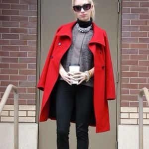 Old Navy Outerwear - Red long wool coat