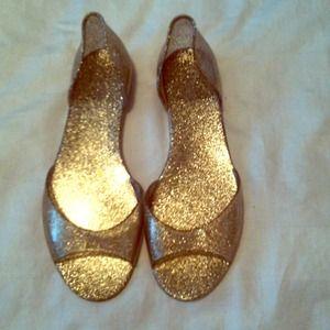 Jcrew gold glitter jelly flats