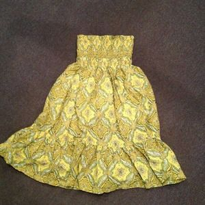BundleYellow print strapless dress
