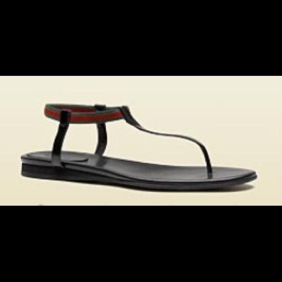 9e1c1831c Gucci Shoes | Areia Flat Thong Sandal With Signature Web | Poshmark