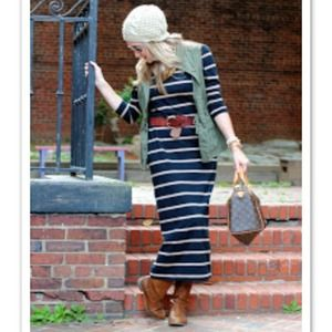 Navy & cream striped maxi dress