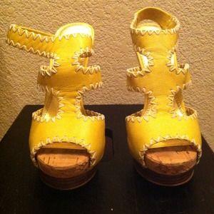 Yellow Bebe Heels Size 6